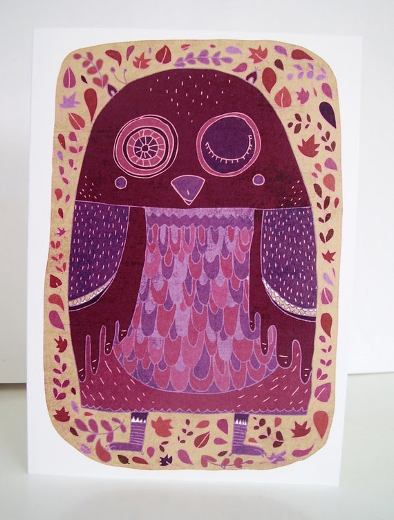 Owl card // purple greeting card