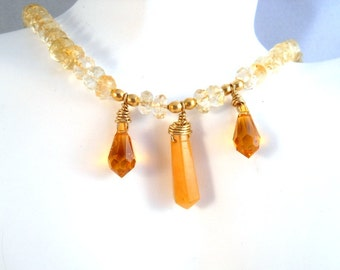 Gemstone Necklace Jade Citrine Swarovski Topaz November Birthstone Gold Filled Jewelry