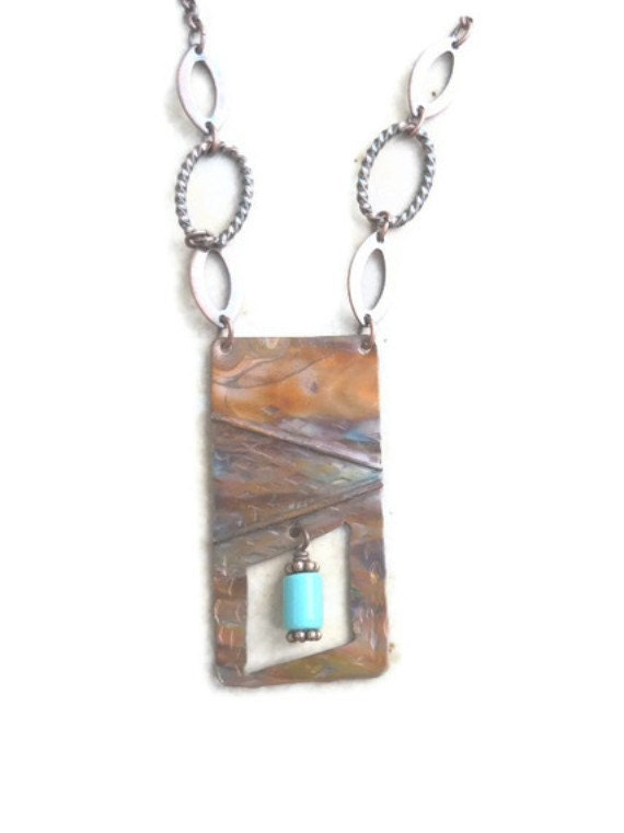 Turquoise Jewelry Copper Necklace Birthstone Long Fold Formed Flame Painted
