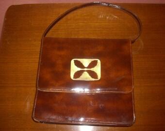 Brown Vinyl Vintage Mini Purse Evening Bag 1960's