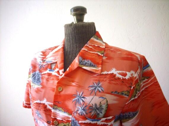 Red Island Theme Hawaiian Shirt Made In California Ladies Small