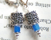 Ocean Breeze Square Scroll and Sky Blue Quartz Sterling Silver Lever Back Earrings