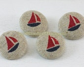 Fabric Covered Buttons (M) - Nautical Marine, Red Sailing Boat On Natural Yellow (4Pcs, 0.75 Inch)