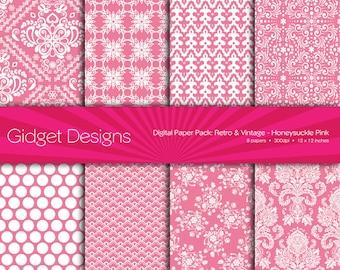Digital Paper Pack: Retro & Vintage Damask - Honeysuckle Pink