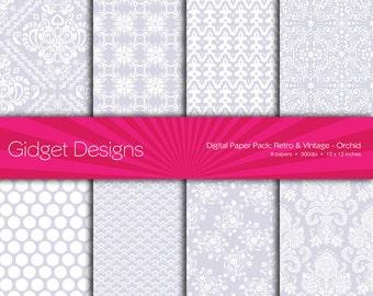 Purple Digital Paper Pack Scrapbook Paper Damask Patterns DIY Wedding bridal Shower Engagement Announcement