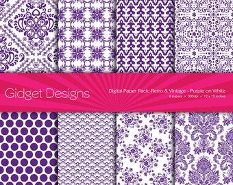 Digital Paper Pack: Retro & Vintage Damask - Purple on White