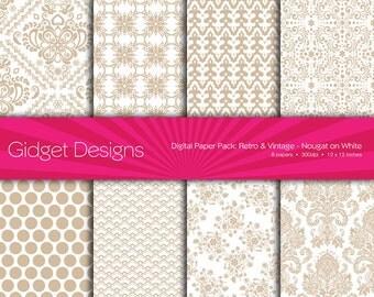Digital Paper Pack: Retro & Vintage Damask - Nougat on White Beige Taupe
