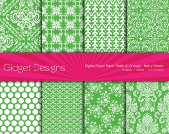 Green Digital Paper Pack Damask Patterns Kerry Green St Patrick's Day