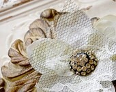 Unique Ivory Vintage Shabby Chic Bridal Flower Brooch and Hair Clip