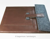 New iPad cover iPad 3 case iPad 2 sleeve cover case w pocket - Brown leather w grey felt