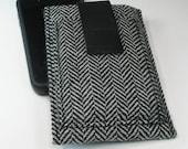 iPhone 4 sleeve iPhone 4S case w credit card pocket - Black white herringbone - Masculine manly