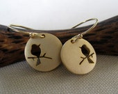Bird on a branch gold disc earrings, adorable,  flower girl gifts
