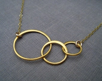 Gold ETERNITY necklace, 3 circle link, infinity, gift for her available in 3 finishes, everyday, simple modern, geometric