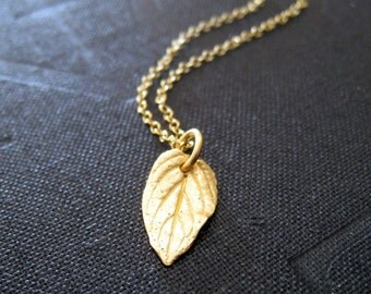Mint Leaf Necklace, gold leaf charm necklace, 14k gold filled chain, autumn weddings, simple everyday necklace