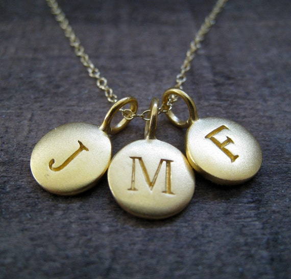 Gold initial necklace, 3 initial necklace, personalized jewelry, satin gold initial charms, monogram, nymetals, gift for her, three sisters