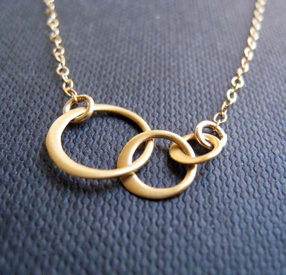 Eternity necklace, three interlocking circle necklace, 14k gold filled chain, multi, layering