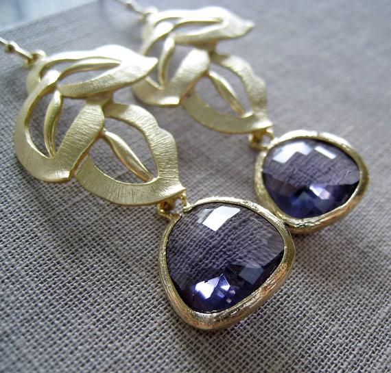 Art Deco Gold Leaf Earrings-Purple amethyst chandelier bridesmaid earrings, Autumn weddings, lavender, violet