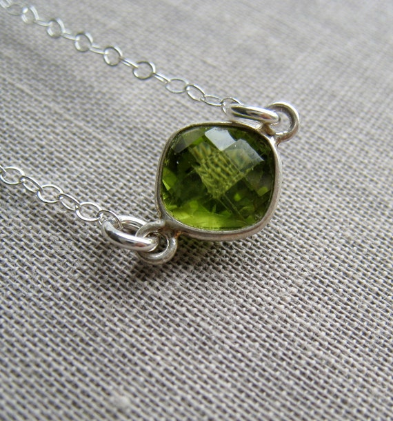 Tiny Peridot Bezel pendant necklace, August birthstone, sterling silver bezel abd chain