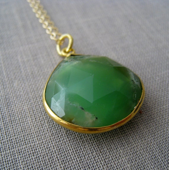 Chrysoprase bezel pendant necklace-gold bezel gemstone pendant, Moss green turquoise color,  18''long, limited edition