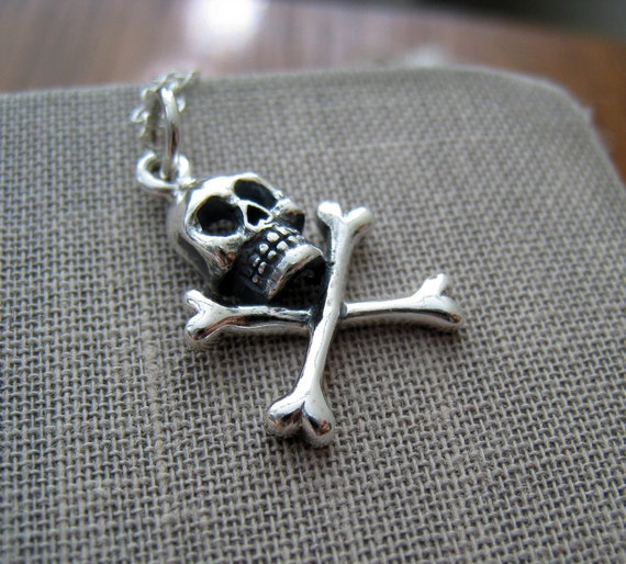 Skull and crossbones charm necklace, sterling silver charm, pirate charm jewelry