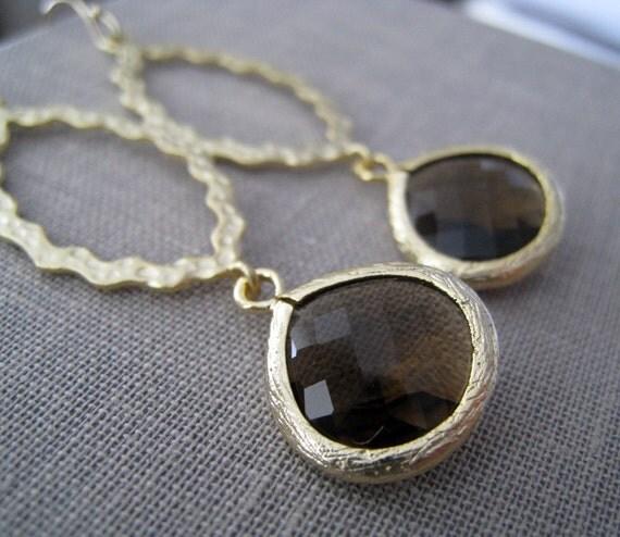 Smokey quartz chandelier earrings, gold hoop earrings, bridesmaid jewelry, bridal party gifts, weddings