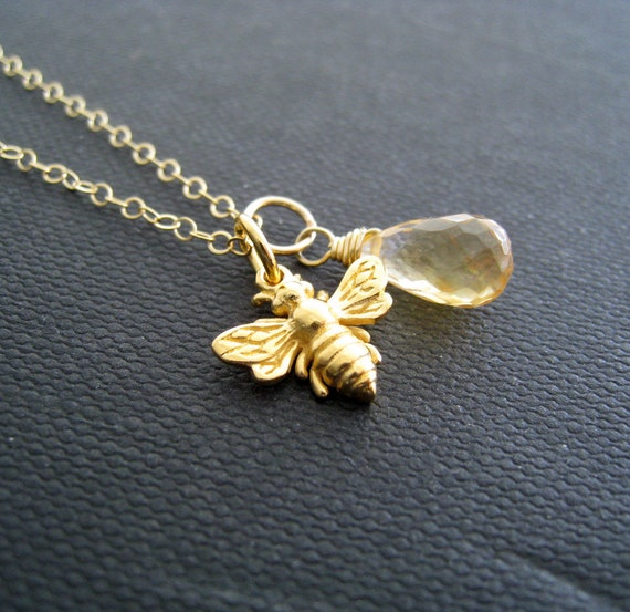 Bumble bee necklace, Honey bee necklace, Citrine necklace, Gold bee charm and birthstone
