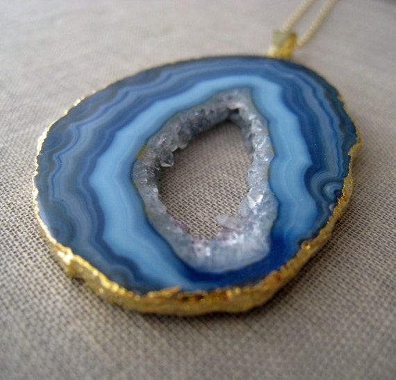 Carribean Blue agate necklace-druzy stone 14k gold fill necklace, limited addition