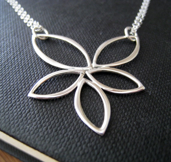 Abstract Lotus necklace, sterling silver marquis pendant statment jewelry