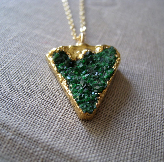 Russian Uvarovite green garnet gold edged necklace, unique one of a kind pendant