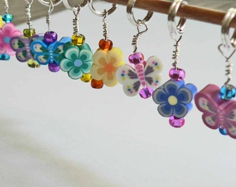 Cute Clay Stitch Markes YOU CHOOSE a set of 6 Flowers, Butterfly, or Fruit Colorful Rainbow Stitch Markers. Knit or Crochet stitch markers