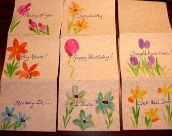 YOUR CHOICE Custom Hand-Painted Note Card Assortment - Pkg of 10