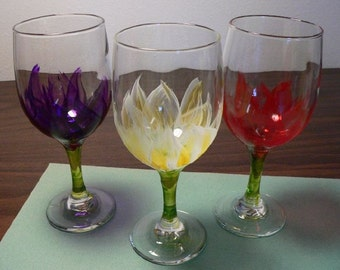 Hand-Painted - Blooming Goblets - Pair