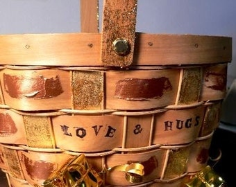 Love and Hugs Hand Painted Basket