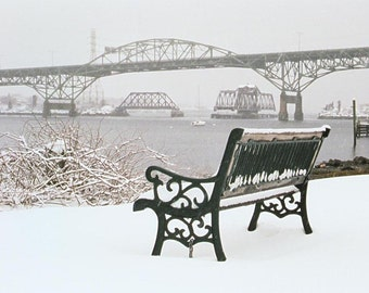 photograph Sakonnet Bridge after a winter storm Fine Art gifts for woman men man