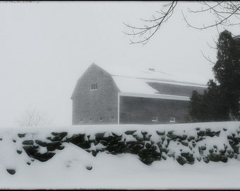 Snow Covered Barn, Tiverton RI - 8x10 Photograph - Metallic Print Fine Art gifts for woman men man