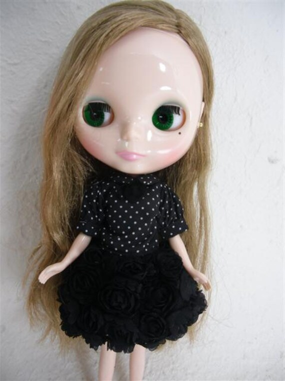 Neo Blythe outfits, Clothing, Black roses Dress  B23