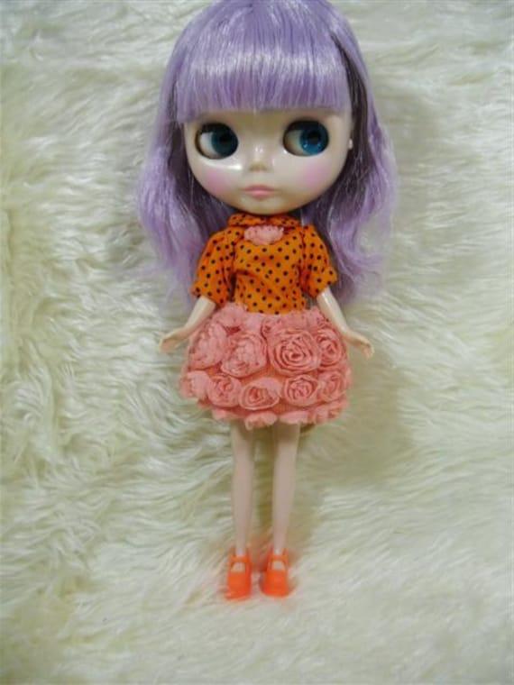 Neo Blythe outfits, Clothing, orange roses Dress  B33