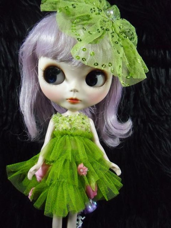 Neo Blythe outfits, Clothing, Clothes Green Set 2 pcs dress and hair-clip  B75