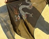Elegant Present Hand Painted Silk 19'' X 76'' Long Scarf with Dragon Year Silver Grey Red .