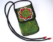 Wet Felted Folk Flower Felt Case Cell Phone Ready to Ship  handmade gift for her under 50 USD