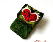 Wet Felted  Ladybug Heart with wings Felt Case Cell Phone Ready to Ship  handmade Perfect Valentines Gift under 50 USD
