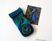 Wet Felted  Eyeglasses Case Peacock feather Ready to Ship with bag  metal closure  button  handmade gift for her under 50 USD