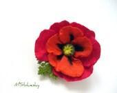 RED POPPY hand made felt brooch