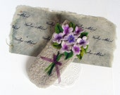 Wet Felted  Eyeglasses Case Violets Flowers  Easter motives Ready to Ship with metal closure  button  handmade gift for her under 50 USD