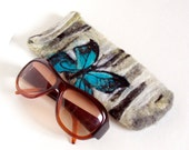 Wet Felted  Eyeglasses Case  Butterfly on a birch tree Easter  Ready to Ship handmade gift for her under 50 USD