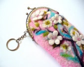 Wet Felted Spring bloom Felt pouch Ready to Ship  handmade Perfect Gift under 50 USD