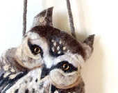 OWL Wet Felted  coin purse Ready to Ship with bag frame metal closure Handmade RESERVED FOR Susan