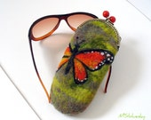 Wet Felted  Eyeglasses Case  Butterfly  with bag frame metal closure Ready to Ship handmade gift for her under 50 USD