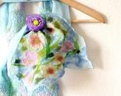 Elegant Present Silk Scarf nuno felted Shawl Blooming garden 10'' X 48'' Aqua Sky Blue in Pastel Tones