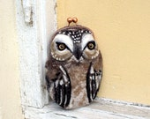 OWL  Wet Felted  coin purse Ready to Ship with bag frame metal closure Handmade